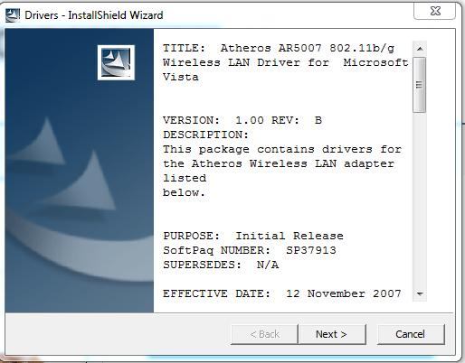 ATHEROS AR5007 802.11 B G WIRELESS LAN TREIBER HERUNTERLADEN